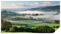 Llanhamlach Old School as an autumn mist rises., Print