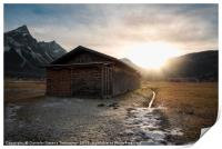 Barn with firewood at sunset in the Alps, Print