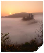Serene Sunrise at Corfe Castle, Print