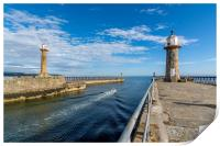 Fishing boat leaving Whitby harbour entrance, Print