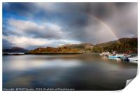 Storm clouds and rainbows over Plockton , Print