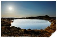 Sunset over Loch na Clarlaich to the Isle of Skye., Print