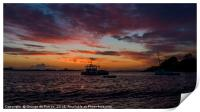 Sunset over a fishing boat in Guernsey, Print