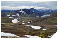 Beautiful and rugged landscape in Iceland, Print