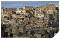 View over the gorgeous city of Matera, Italy, Print
