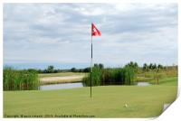 golf course with red flag and ball, Print