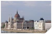 Hungarian Parliament on Danube river Budapest, Print