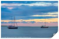 Boats at sunset on the Swale Estuary in Kent , Print