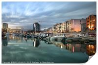 City and coastline of Bodo at evening, Norway., Print