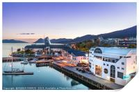 The Port of Molde at evening, Norway., Print