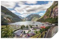 Panoramic view perspective of the Geiranger harbor, Print
