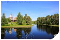 Lake Landscape with Petajavesi Old Church, Print