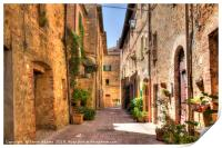 street view in Pienza, Tuscany, Print