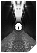 Narrow street gang with scary man silhouette, Print