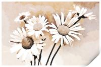 Blooming bouquet of daisies, Print