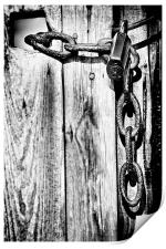 Black and White Rusty Chain and Padlock, Print