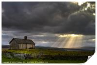 Barn and sunbeams, Print