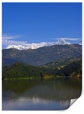 Machapuchare and Annapurna South from Begnas Lake,, Print