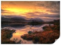 Golden Sunrise Over Loch Ba, Print
