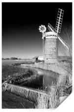 Horsey Mill in Black and White, Print