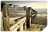 Southwold pier and Groynes, Print