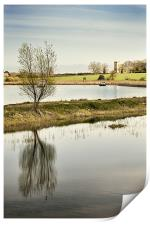Tree and Church on the River Thurne, Print