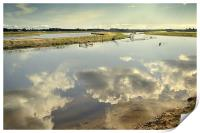 Cloud reflections on the River Thurne, Print