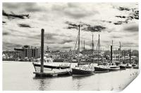 Boats moored in Wells Harbour, Print