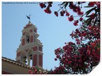 Paxos Church Bell Tower Greece, Print