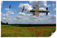 Lancaster Spitfire and poppy Field, Print