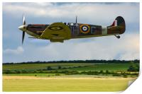 Low flying Spitfire over Duxford, Print