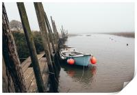 Boats moored at Blakeney in fog., Print
