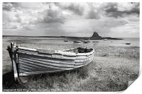 Lindisfarne Castle and Boat, Print