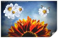 You are my sunshine, (Sunflower Dogrose and Birds), Print