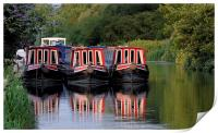Kennet and avon long boats at Aldermaston., Print