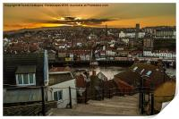 Whitby Sunset On The 199 Steps., Print
