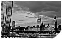 Westminster, black and white, Print