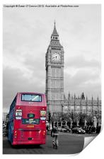 Red London Bus at Westminster, Print