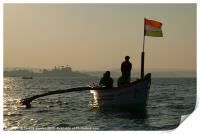 Dolphin Boat with Indian Flag Palolem, Goa, India, Print