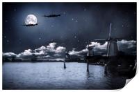 Caught In The Glare Of The Moon, Print