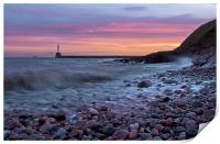 Aberdeen South breakwater light at dawn, Print