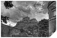 The Castle from St Cuthberts - B&W, Print