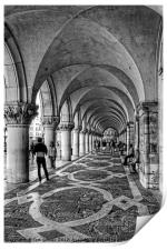 Doge's Palace Colannade - B&W, Print