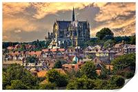 Arundel Cathedral and Village Rooftops, Print
