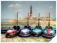 Dodgems in the Shadow of Blackpool Tower, Print