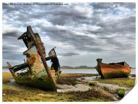 Wrecks at Fleetwood Marsh., Print
