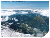 Chamonix France from above the clouds, , Print