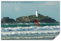 SURFER AT THE LIGHTHOUSE , Print