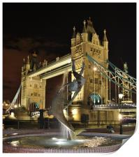 Tower Bridge and Girl with a Dolphin Fountain., Print