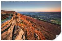 Bamford Edge at Sunset, Print